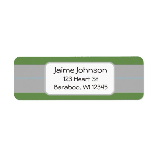 Green and grey  Return Address Sticker Return Address Label