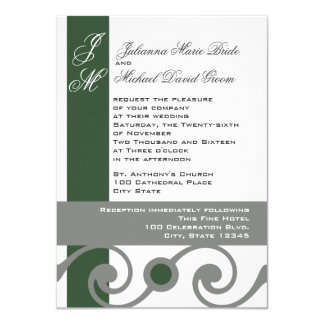 Green and Grey Scroll Work 4.5x6.25 Paper Invitation Card