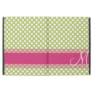 "Green and Hot Pink Polka Dot Pattern Monogram iPad Pro 12.9"" Case"