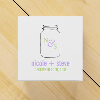 Green and Lavender Mason Jar Monogram Wedding Wedding Favor Boxes