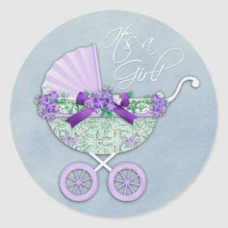 Green and Lavender Purple Baby Carriage Round Sticker
