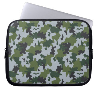 Green and Light Blue Camouflage Laptop Sleeves