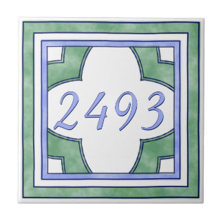 Green and Light Blue Small House Number Tile