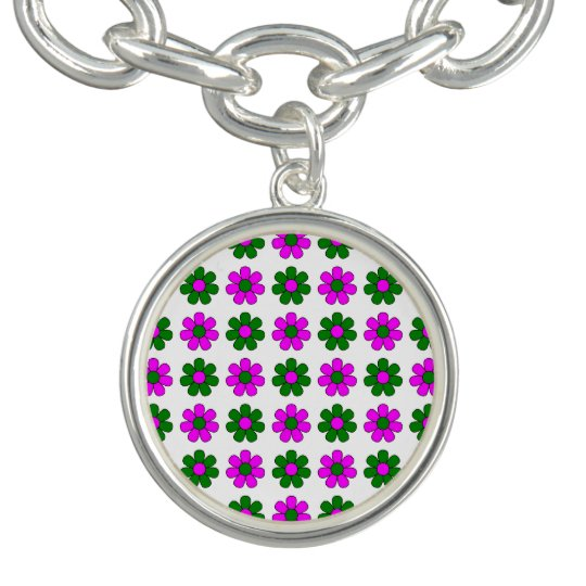 Green and magenta flowers charm bracelets