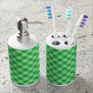 Green and Mint Green Outlined Squares Soap Dispenser And Toothbrush Holder