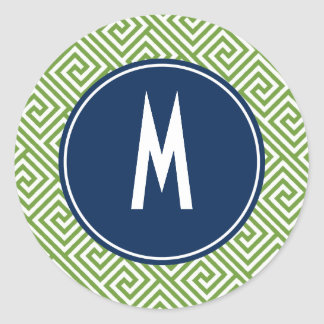 Green and Navy Blue Greek Key Pattern Monogram Classic Round Sticker
