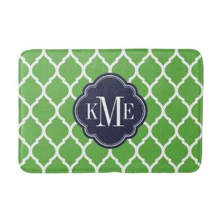 Green and Navy Moroccan Quatrefoil Monogram Bath Mat