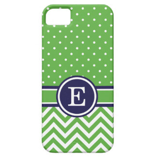 Green and Navy Preppy Chevron Dots Monogram iPhone 5 Cases
