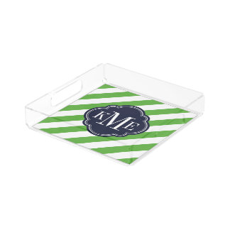 Green and Navy Preppy Stripes Monogram Acrylic Tray