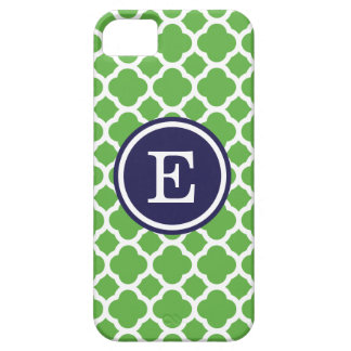 Green and Navy Quatrefoil Custom Monogram iPhone 5 Cover
