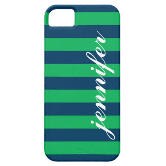 Green and Navy Stripes   Script Monogram Case For The iPhone 5