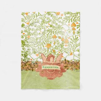 Green and Orange Angel with Name Fleece Blanket