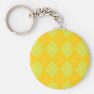 Green and Orange Argyle Pattern Basic Round Button Keychain
