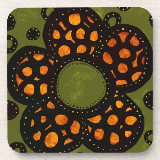 Green And Orange Flower Coaster
