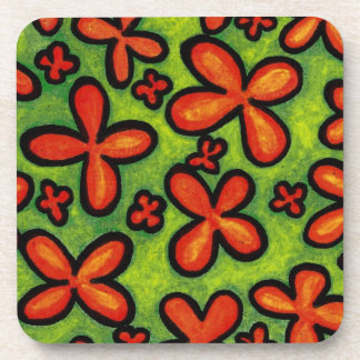 Green And Orange Flowers Coaster