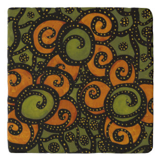 Green And Orange Flowers Trivet