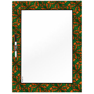 Green And Orange Gecko Lizard Pattern Dry Erase Board