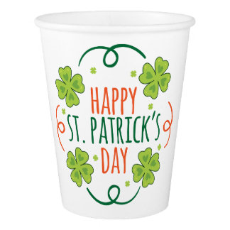 Green and Orange Happy Saint Pats Day Paper Cup