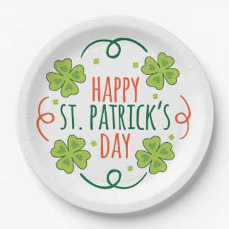 Green and Orange Happy Saint Pats Day Paper Plate