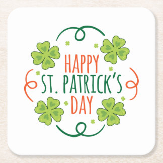Green and Orange Happy Saint Pats Day Square Paper Coaster