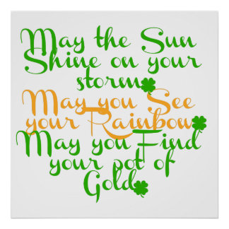 Green and orange Irish blessing with shamrocks Poster