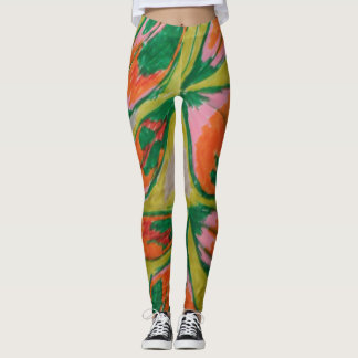 green and orange leaves leggings