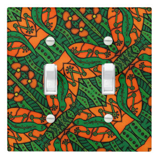 Green And Orange Lizard Gecko Pattern Light Switch Cover