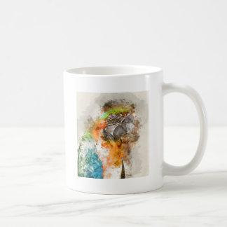 Green and Orange Macaw Bird Coffee Mug