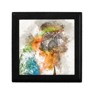 Green and Orange Macaw Bird Keepsake Box