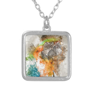Green and Orange Macaw Bird Silver Plated Necklace
