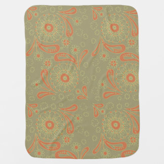 Green and Orange Paisley Mandala Floral Pattern Baby Blanket
