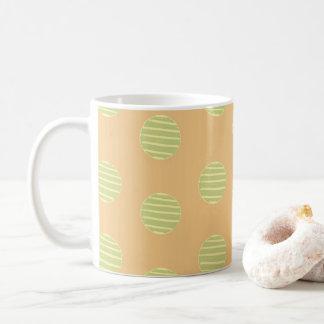 Green and Orange Polka Dot Pattern Coffee Mug