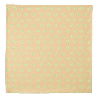 Green and Orange Polka Dot Pattern Duvet Cover