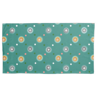 Green and Orange Polka Dots Pillowcase