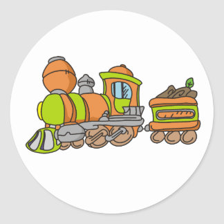 Green and Orange Train Classic Round Sticker
