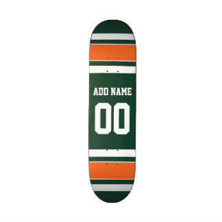Green and Orange White Stripes Custom Name Number Skate Board Deck