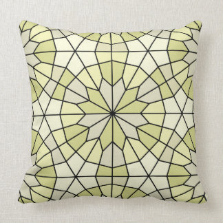 Green and pale yellow pattern pillow. throw pillow