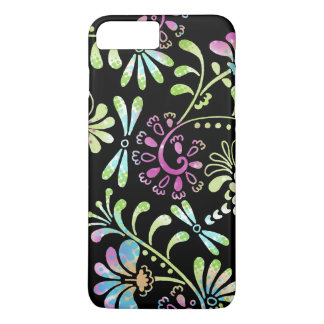 Green and pink abstract flowers iPhone 7 plus case