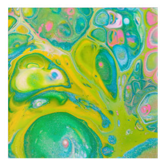 Green and Pink Acrylic Pour Art