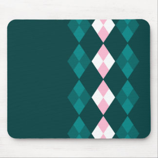 Green and pink argyle mouse pad