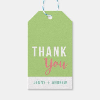 Green and Pink Bridal Shower Thank You Gift Tag