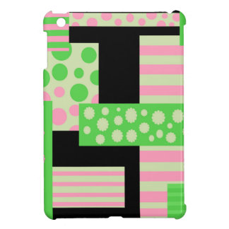 Green and pink collage iPad mini case