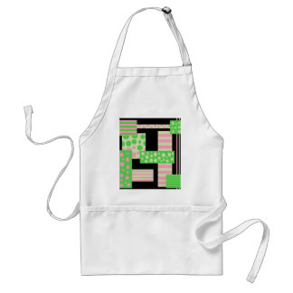 Green and pink collage standard apron