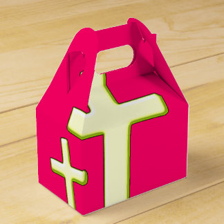 Green And Pink Cross Design Favor Box