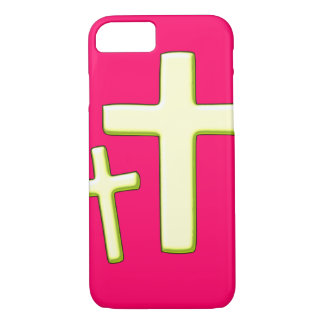 Green And Pink Cross Design iPhone 7 Case