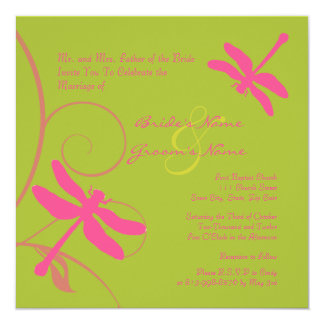 Green and Pink Dragonfly Wedding Invitation