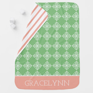 Green and Pink Flourish Tiles and Stripes Baby Blanket