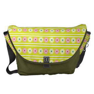 Green and pink flowers pattern messenger bags