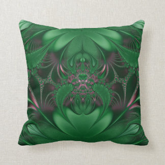 Green and pink Fractal Pillow