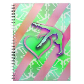 Green and Pink Gymnastics Heart Customizable Notebook